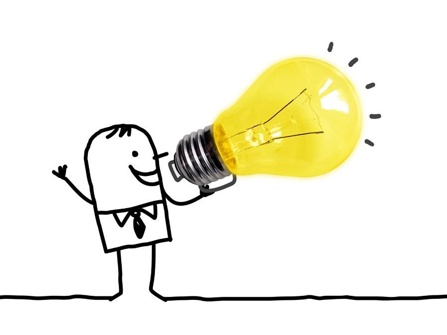 Illustration depicting a figure using a light bulb, symbolising an idea, as a megaphone