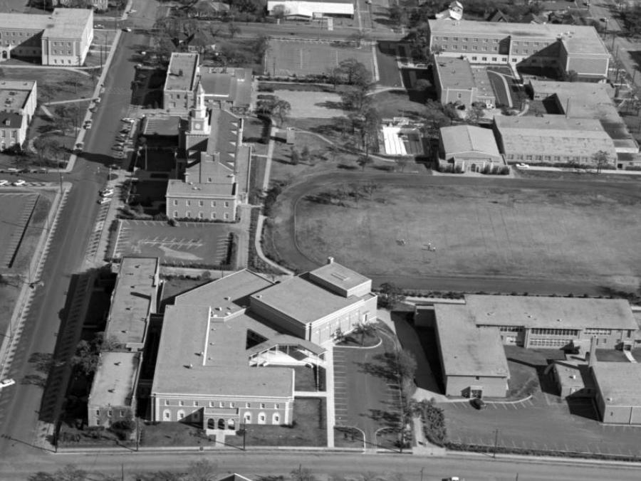 <p>1962 aerial of campus showing Music Building bottom left</p>