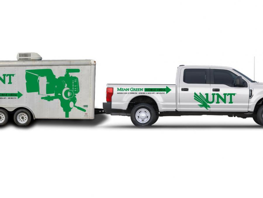 Mean Green Mobile Media truck and trailer