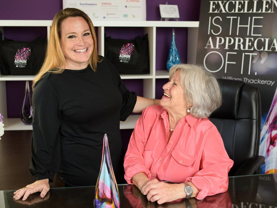 <p>Sunny Nunan and her mom in the Admin Awards office</p>