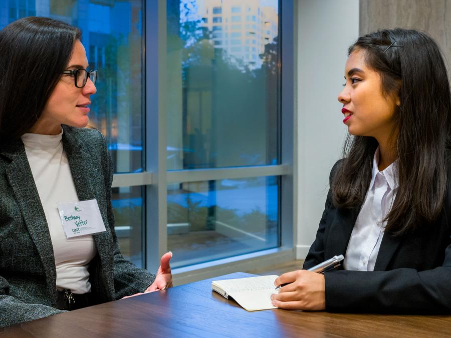 Mentors and mentees meet as part of UNT's Professional Leadership Program