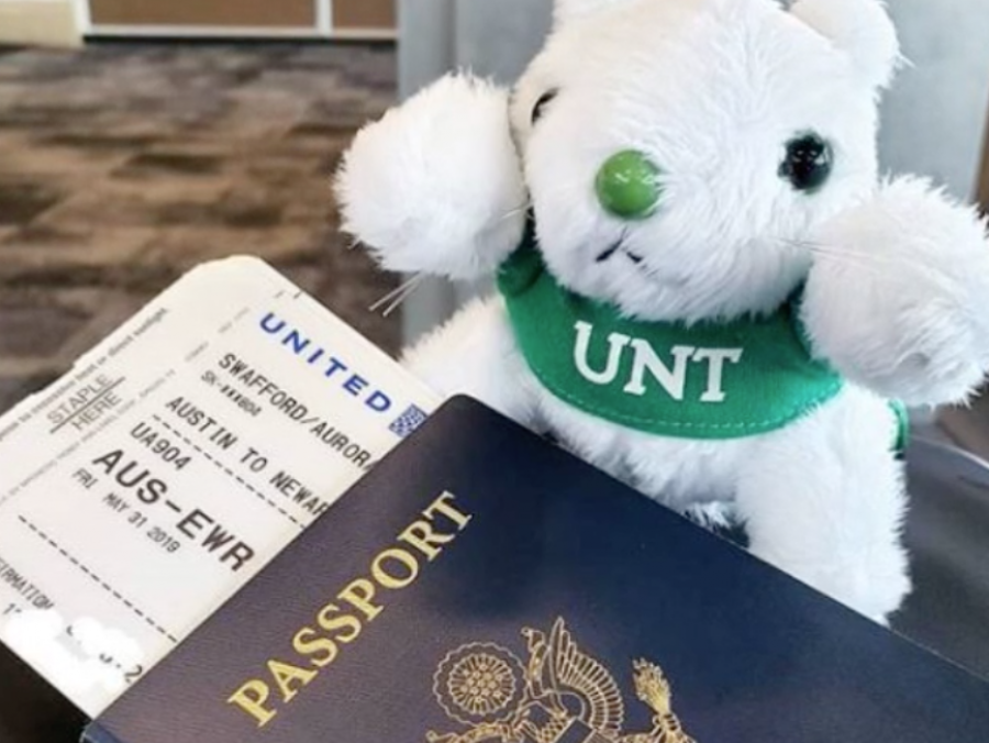 Lucky the Squirrel with passport