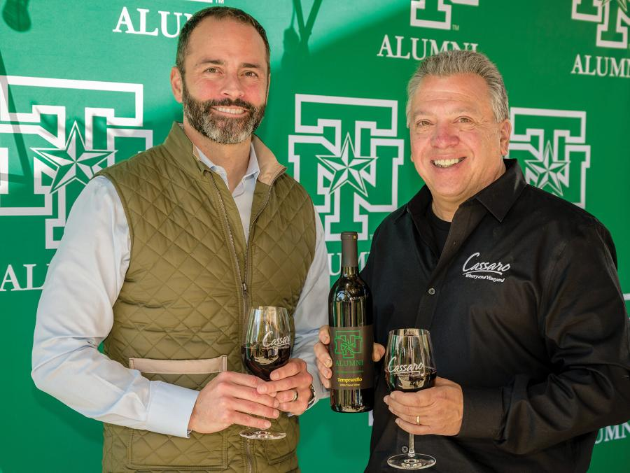 From left, UNT Alumni Association Executive Director Rob McInturf and John Matthews