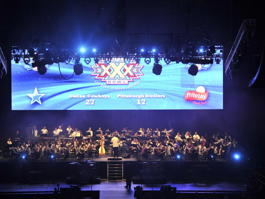 <p>UNT Symphony Orchestra performing at XLV Countdown concert</p>