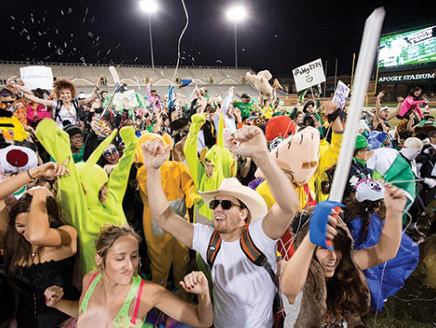 <p>UNT students do the Harlem Shake at Apogee Stadium.</p>