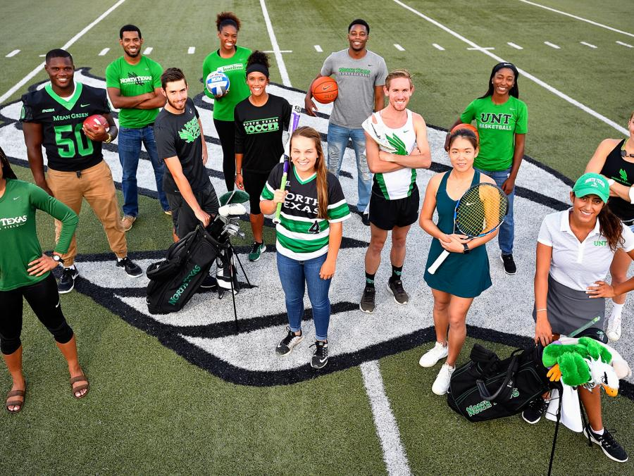 <p>Mean Green student athletes at Apogee Stadium. Photo by Michael Clements</p>