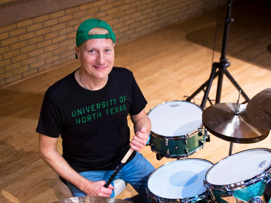 Gregg Bissonette with a drum kit