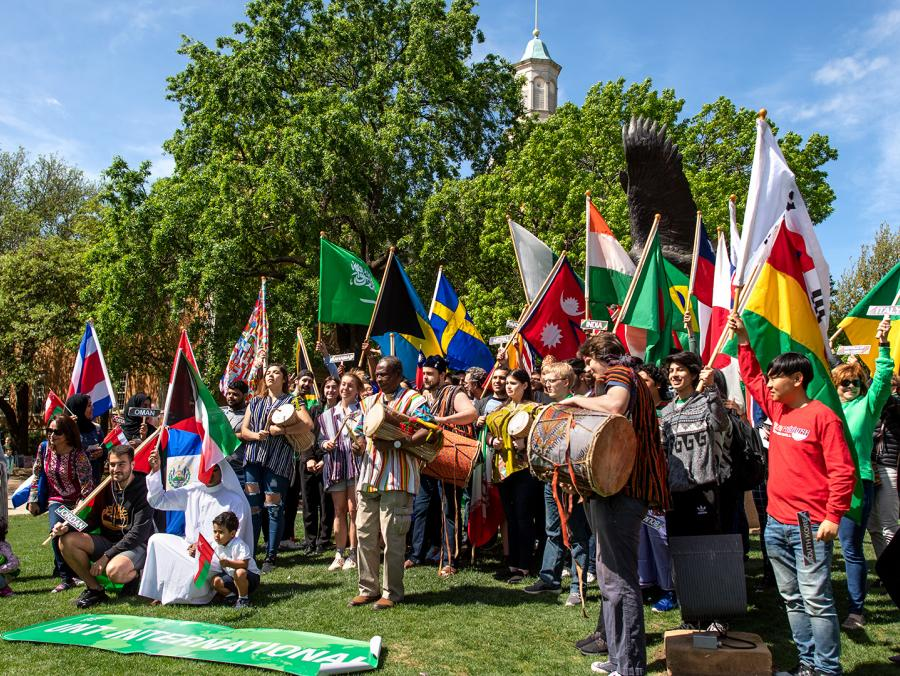 UNT University Day international flags