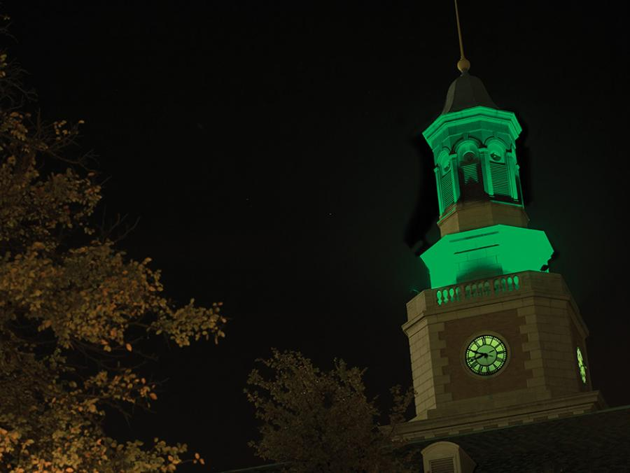 UNT McConnell tower at night light in green