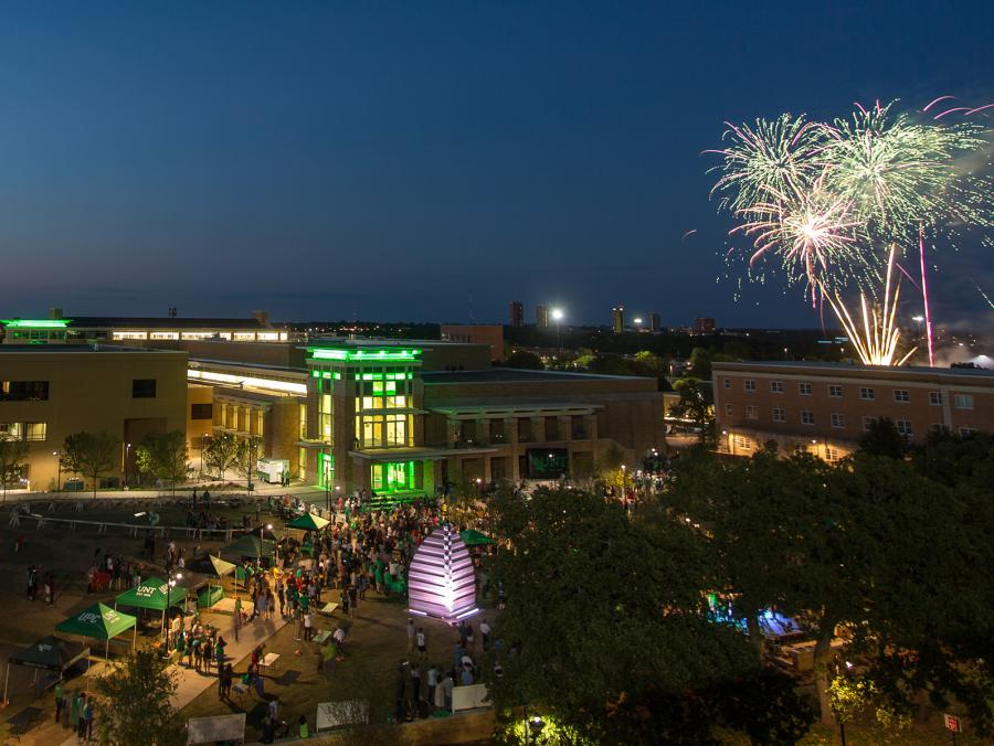 <p>Block Party on UNT campus with fireworks</p>