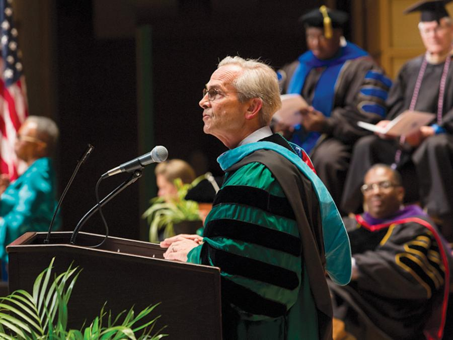 <p>chancellor Jackson at commencement</p>