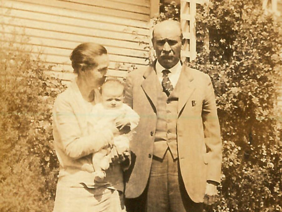 <p>Wallace N. and Lula Masters with granddaughter Katy</p>