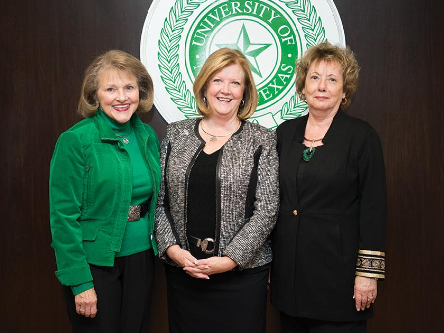 <p>From left, Diamond Eagles Society co-founders Cathy Bryce ('91 Ph.D.), Debbie Smatresk and Shari McCoy</p>