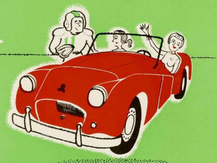 <p>Illustration from 1956 yearbook of two women in a car next to a football player</p>