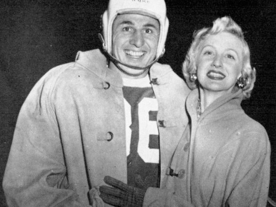 <p>Shirley and Don Baker, Don is wearing  a football helmet and uniform</p>