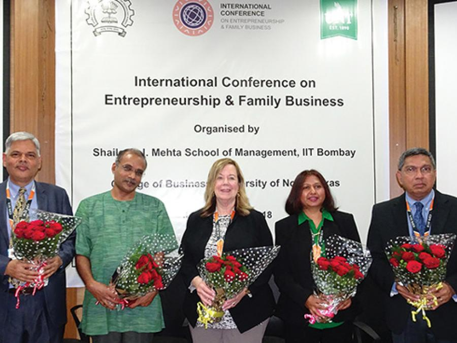 <p>From left, Shivganesh Bhargava, head of Shailesh J. Mehta School of Management, IIT-Bombay; P.V. Balaji, dean of research and development, IIT-Bombay; Marilyn Wiley, dean of UNT's College of Business; Manjula Salimath, associate professor of management,</p>