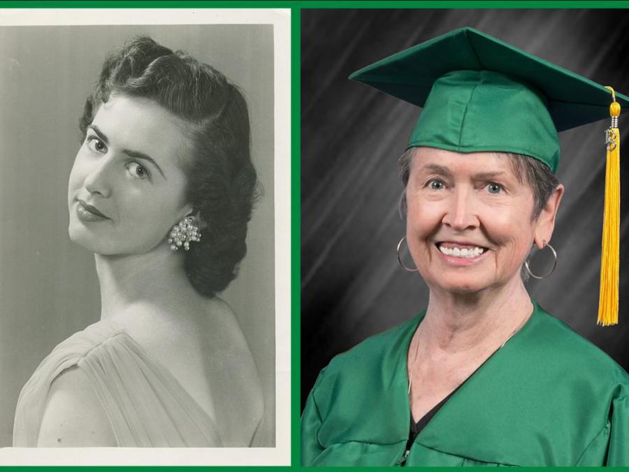 Portraits of Betty Sue Davis Wright in 1959 and 2011