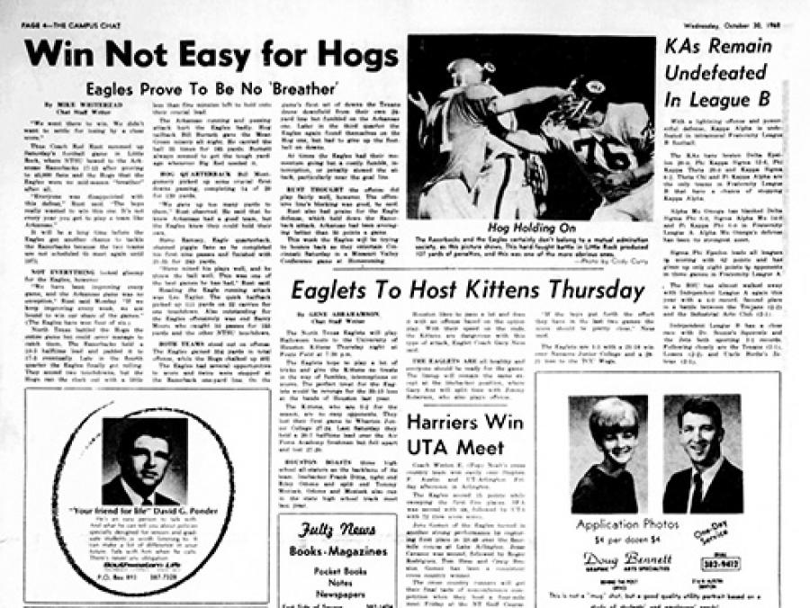 UNT Campus Chat newspaper, Oct. 30, 1968
