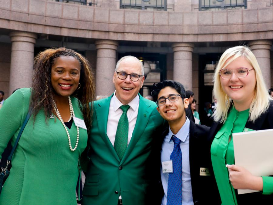 President Smatresk with students at UNT Day at the Capitol in Austin