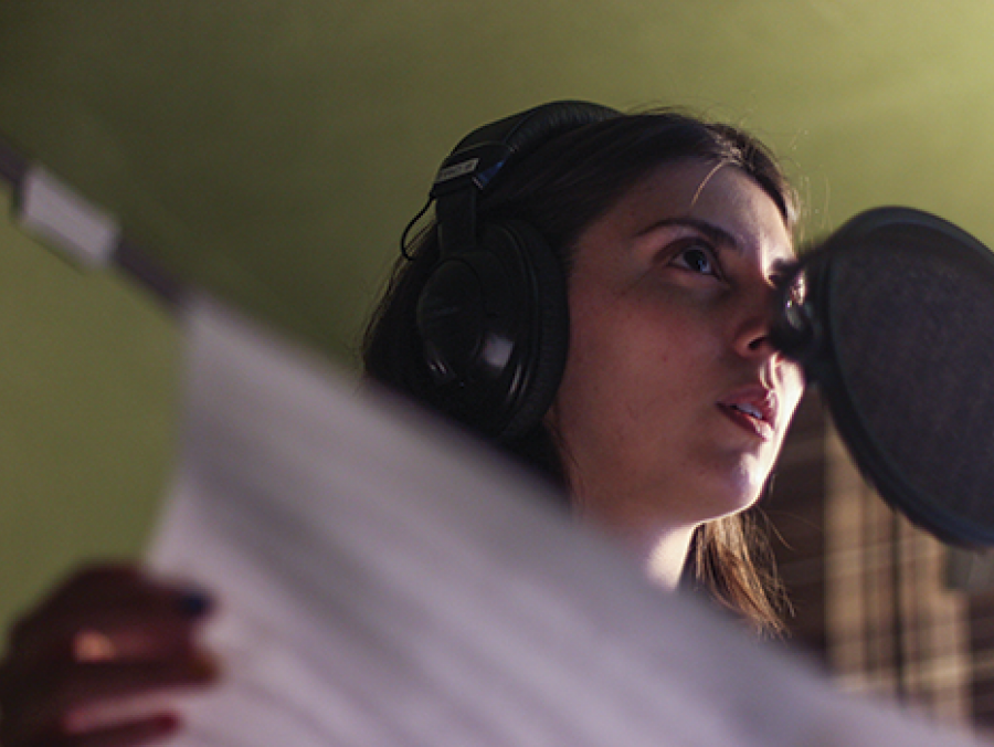 Amanda Ekery in a recording studio