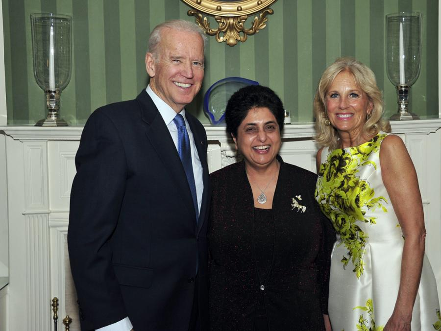 Revathi Balakrishnan, center, is greeted by now President Joe Biden and First Lady Jill Biden during the Teacher of the Year ceremony at the White House in 2016.