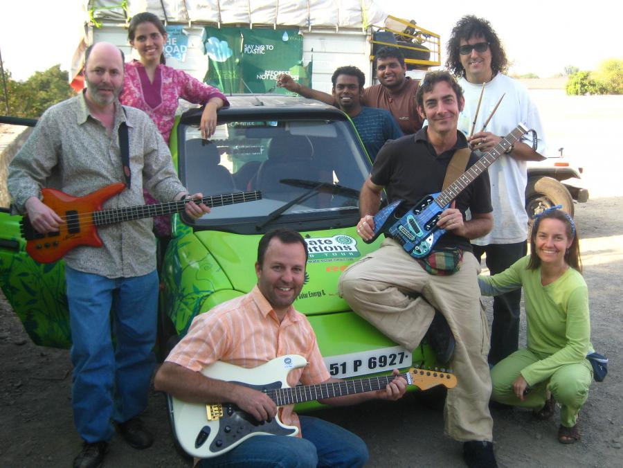 <p>Solar Punch band in front of car</p>