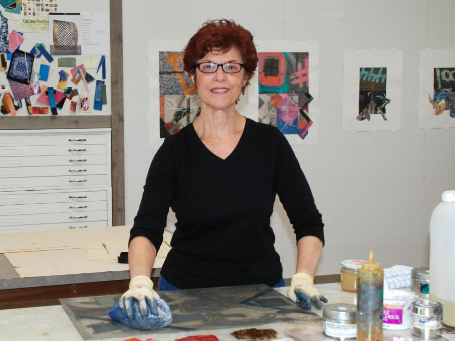Cecelia Feld working in studio