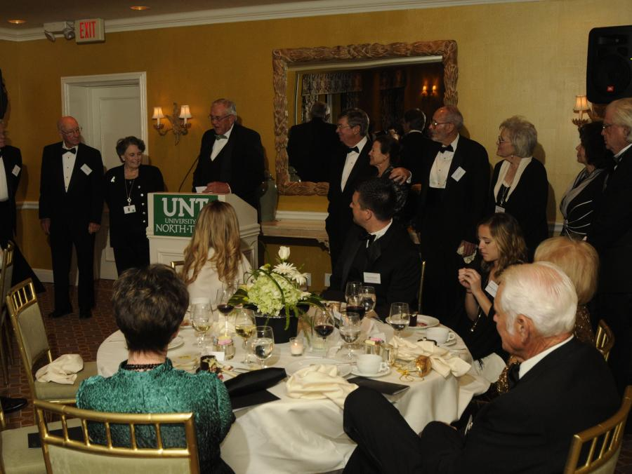 <p>President Lane Rawlins speaking to Founder's Circle members</p>