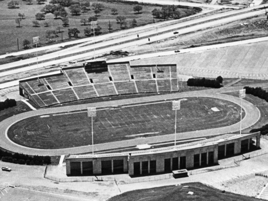 <p>Aerial shot of Fouts Field in 1950s</p>