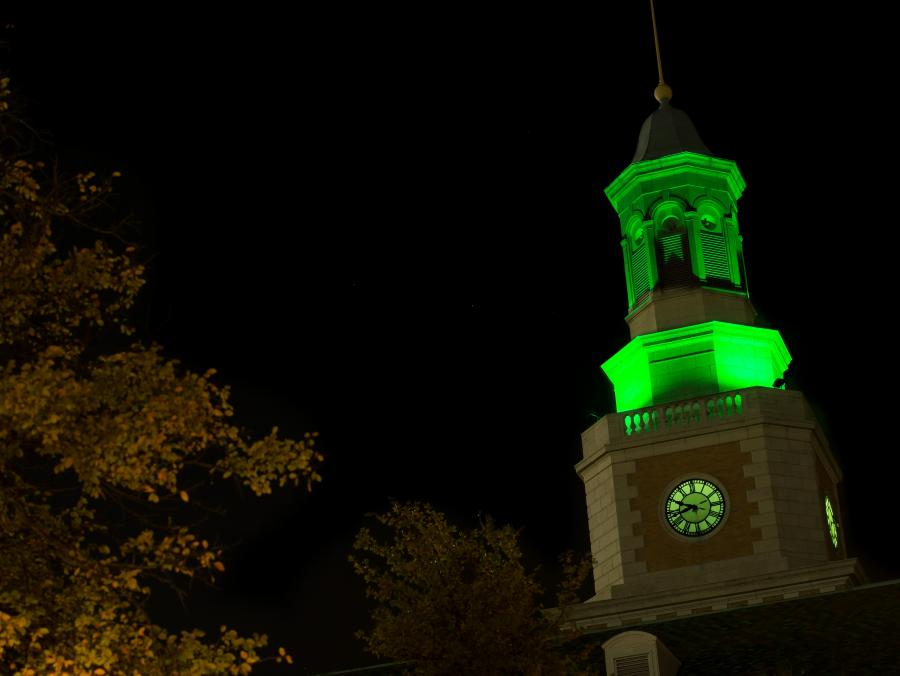 <p>McConnell Tower turns green</p>