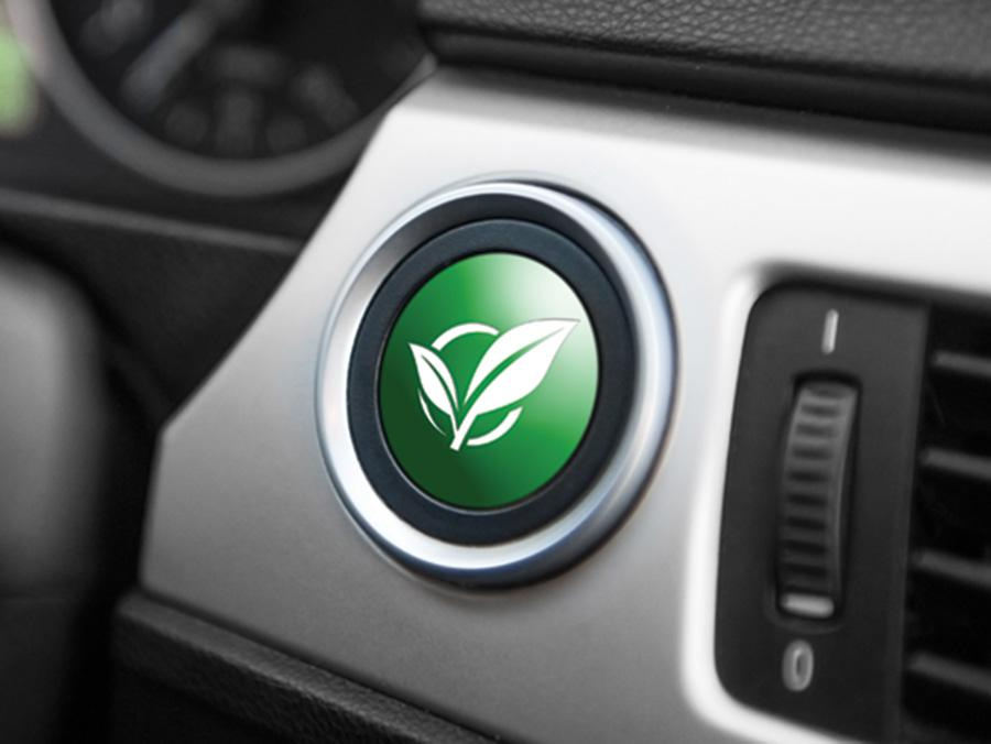 Car dashboard with a green ecology button