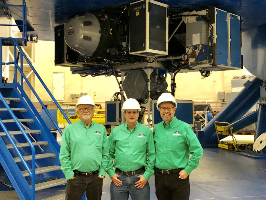 Ron Diiulio (left), Ohad Shemmer (center) and Preston Star with the Gemini-North telescope.