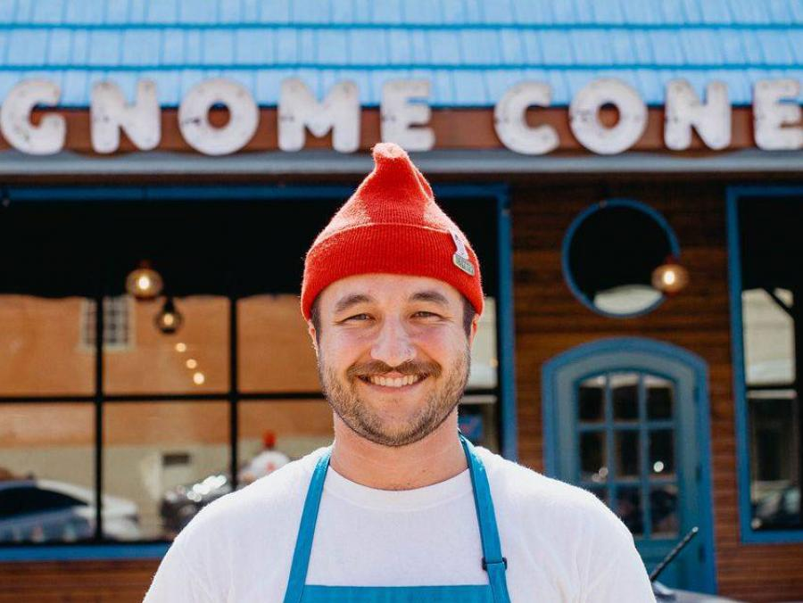 Bret Hawkins stands outside of Gnome Cones in Denton.