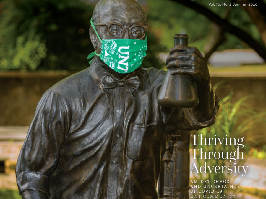 North Texan summer cover featuring the Silvey statue