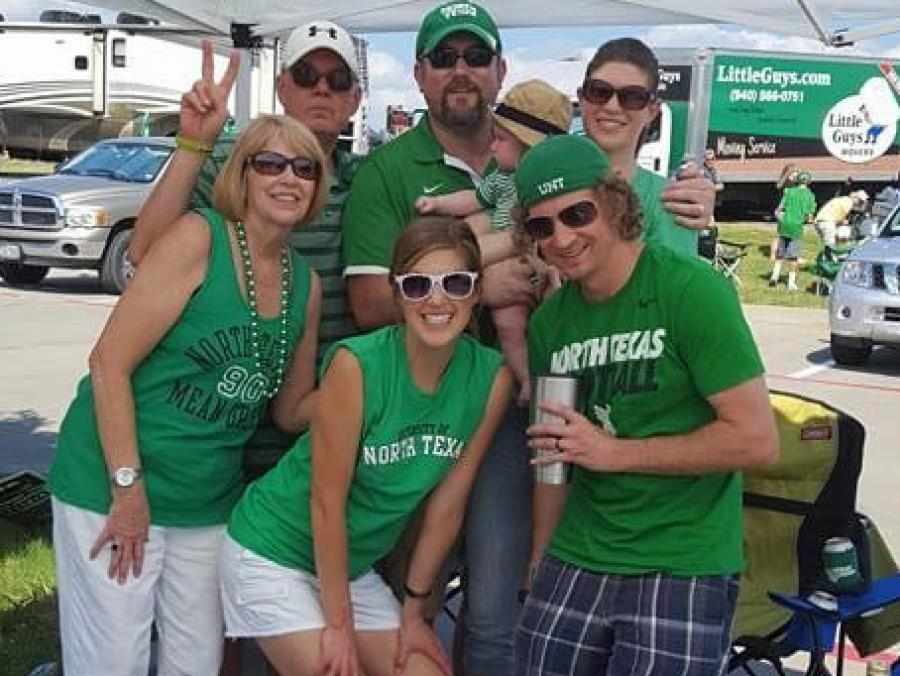 Members of the Nelson family at a Mean Green tailgate