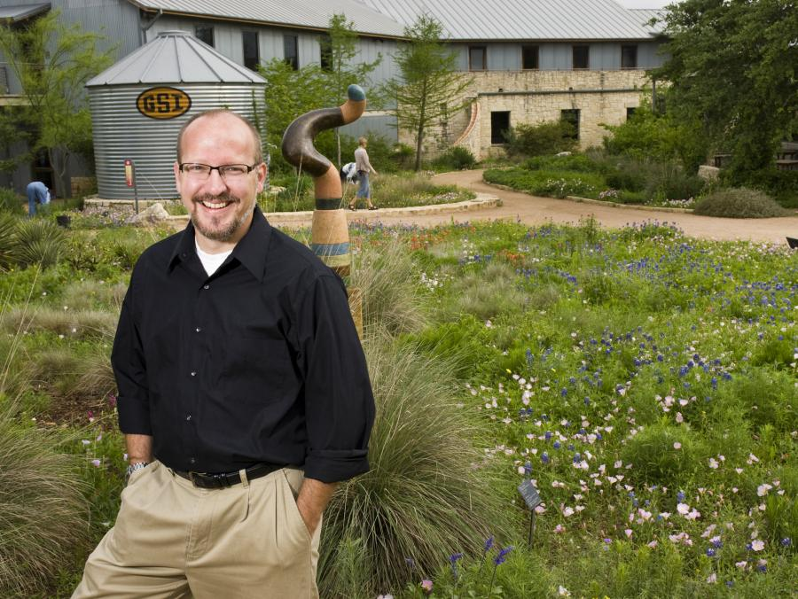 <p>Steve Windhager in front of garden</p>