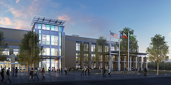 Exterior rendering of the new union at dusk.