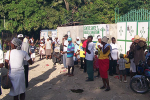 Patients wait outside the Real Hope for Haiti clinic in Cazale, Haiti, where Graham Sowa ('08) has worked several summers.