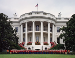 """The President's Own"" United States Marine Band, pictured here on the South Portico of the White House, is the oldest performing musical organization in the United States. It was established in 1798."