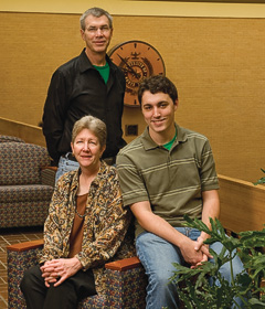 From left, Gary Kelly, Nancy Kelly ('82, '83, '91 M.S.)  and Austin Alexander Kelly ('10)