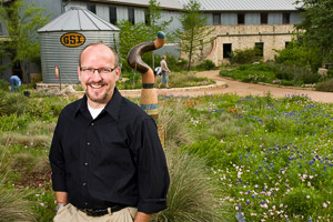 Steve Windhager ('94 M.A., '99 Ph.D.) served as director of the Landscape Restoration Program at the Lady Bird Johnson Wildflower Center in Austin for 11 years and recently was named CEO and president of Santa Barbara Botanic Garden. (Photo by Philip Hawkins)